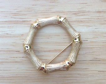 Bamboo Style Gold Tone Brooch