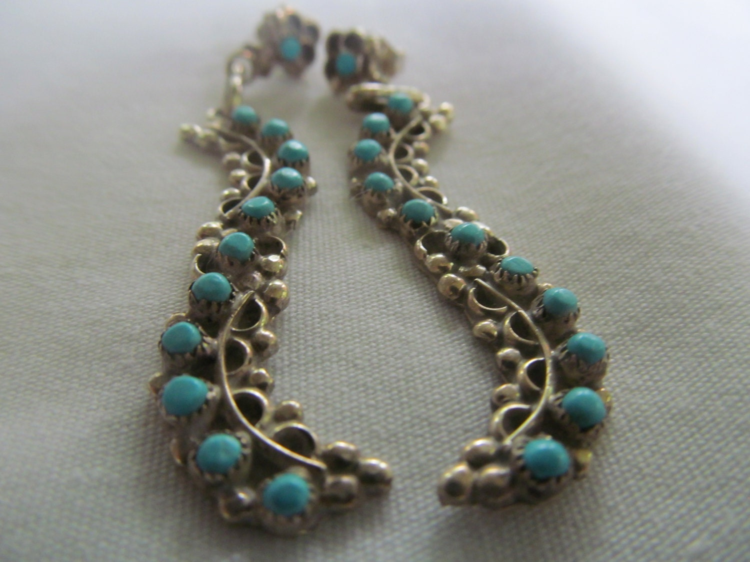 petit point turquoise dangle earrings needlepoint turquoise. Black Bedroom Furniture Sets. Home Design Ideas