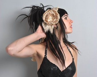 Tribal fusion bellydance flower headpiece - Silky satin handmade headband and roses - feathers,coins, chains cowry shells.One size