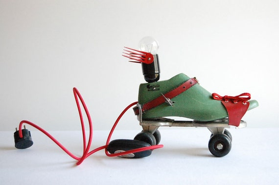 Clockwork Flying Roller Skate. Handcrafted ,vintage industrial desk / floor lamp