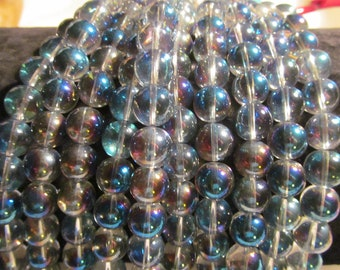 12mm round glass beads meridian blues grays purples