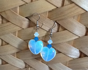 opaque, teal-colored dangle heart earrings