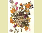 Collage Floral Art Luli 040-pressed flower art-collage art-dried leaves-floral with sequins, feathers