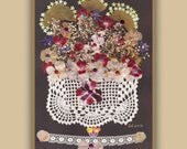 Art Print 013 of Original Collage Floral Luli- Pressed Flower -Floral Art with sequins, antique lace, stitching
