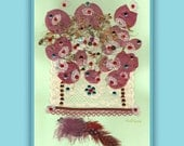 Art Print 014 of Original Collage Floral Luli- Pressed Flower -Floral Art with sequins, feathers,antique lace, stitching