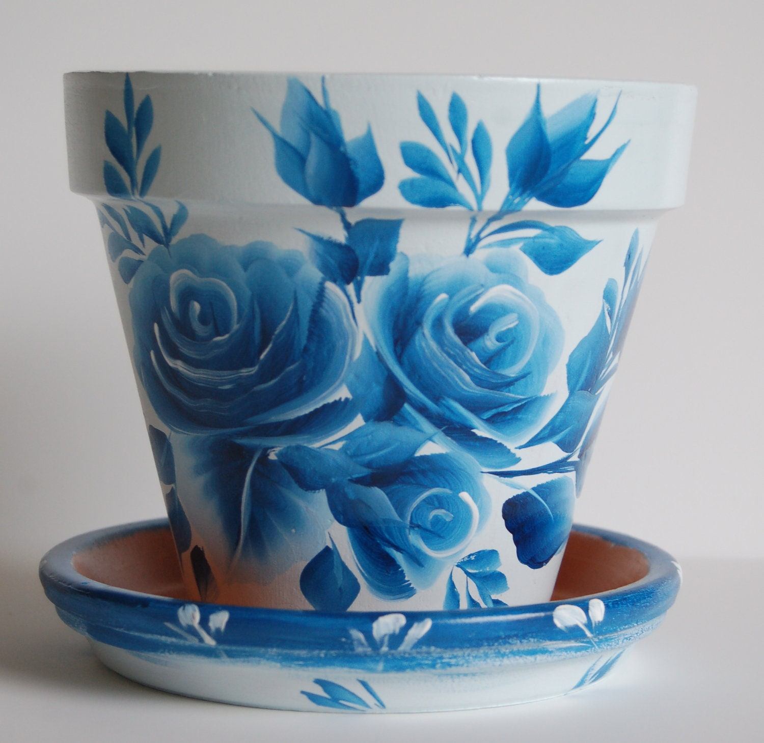 6 inch hand painted clay flower pot with a by mountblossom