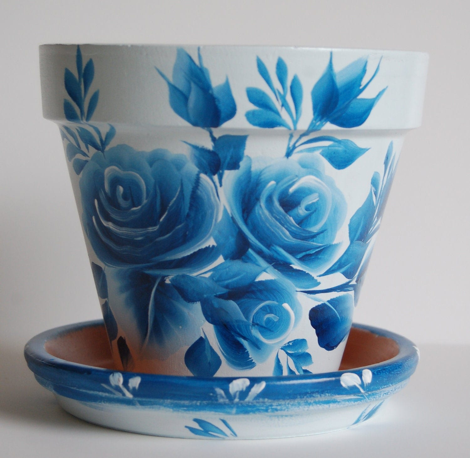 6 inch hand painted clay flower pot with a matching saucer for 6 ceramic flower pots