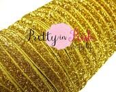 "3/8"" Gold Glitter Elastic- Elastic By the Yard- Glitter Fold Over Elastic- Foe- Foldover Elastic- DIY Headbands- Hair Ties- Wholesale"