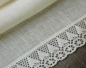 Table runner off white natural linen and lace pure linen runner