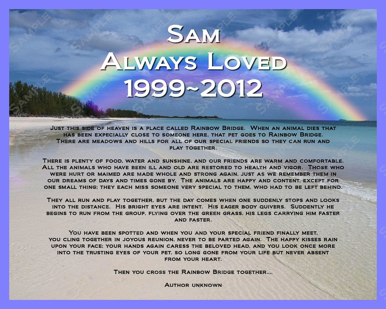 Personalized pet memorial rainbow bridge poem by rainbowbridgepoem