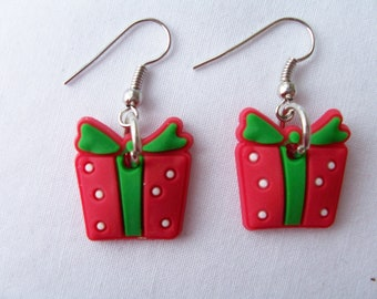 Resin parcel earrings - Christmas earrings - Christmas parcel - holiday season earrings - Christmas gift earrings - festive earrings