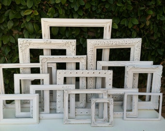 Wedding Frames, Set of 15, Custom Set , Ornate Vintage Picture Frames, Baroque, White, Shabby Chic, Distressed Frame, One11x14 (Los Angeles)