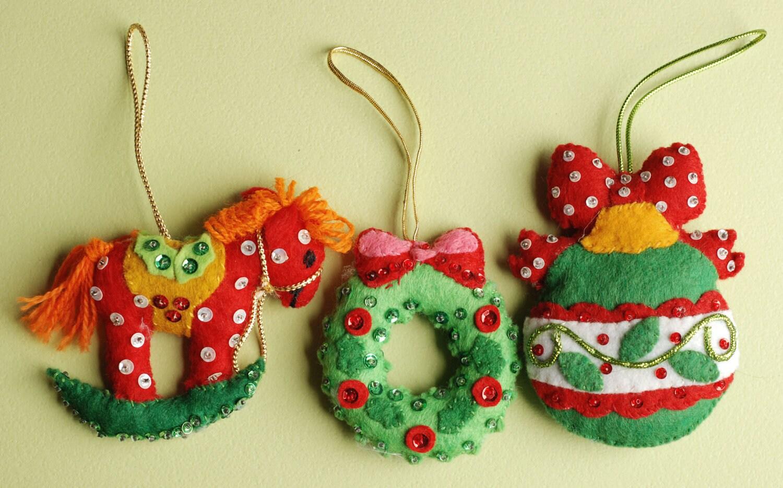 Handmade Vintage Felt & Sequin Christmas Ornaments by ...