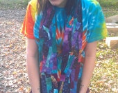 """RESERVED Scrap Batik, Tiedye, and Stars Unique and Colorful Super Long Scarf. """"Sunset before Starlight"""""""