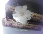 Bridal Feather Fascinator, Wedding Hair Accessory, Goose, Ostrich, Rhinestone, Comb, Tulle : Shy Blossom
