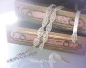 Bridal Headband, Wedding Accessory, Rhinestone, Satin Ribbon Ties : Double Rows