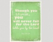 Inspirational Print - Never Fall - Green - Printable Digital File 10 x 8 inches INSTANT DOWNLOAD