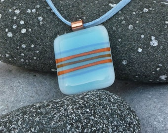 Sky blue striped fused glass pendant