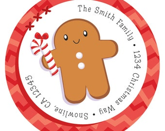 Gingerbread Man Christmas Address Label Stickers, Christmas Return Address Labels  -  24 Round Custom Holiday Stickers, Christmas Labels