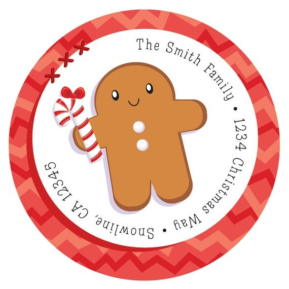 Gingerbread Man Christmas Address Label Stickers, Christmas Return ...
