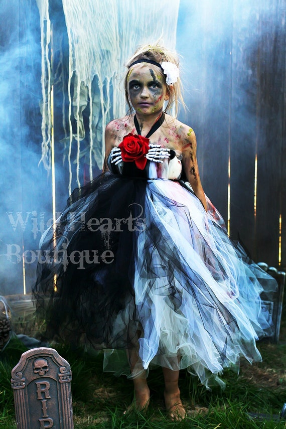 The Beautiful Zombie- zombie inspired tutu dress perfect for Halloween - Zombie Walk, Walking Dead- Costume- Tutu dress