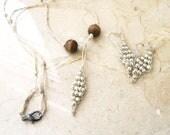 Diamond Shape Jewelry Set Necklace and Earrings Nature Lovers Pocahontas Native American Beaded Boho Wood Hemp Organic Feel - Pookie Design