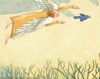 All Is Well - original watercolor painting - fantasy fairytale watercolour - angel protection - safety - forest blue bird - illustration