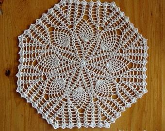 Hand Crochet Pineapple Centerpiece Ecru