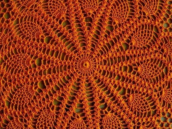 "Crochet Double Pineapple Doily Orange Ecru 20"""