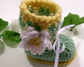 Special Reserved Listing for michelle hesd - Girl Green Gold Boots with Flower