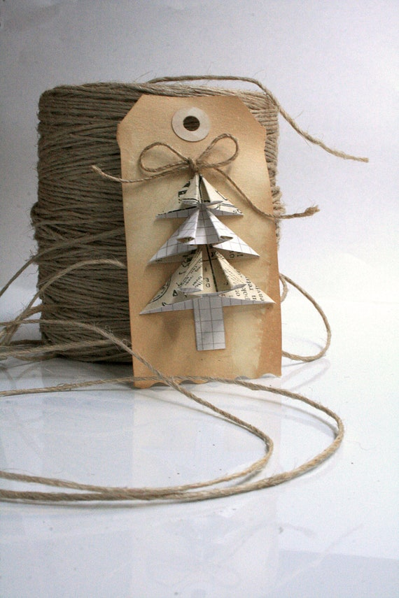 Christmas Gift Tags Vintage Inspired Origami Set of 6