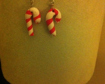 Polymer clay candy cane Christmas earrings
