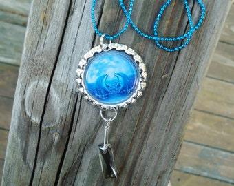 Dolphins, Blue Bottle Cap Charm Necklace