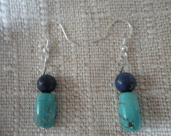 Blue Lapis and Turquoise Beaded Sterling Silver Earrings