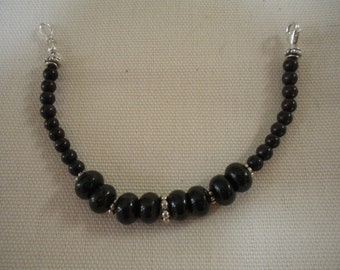 Black Coral and Sterling Silver Beaded Bracelet 6 1/2 Inches