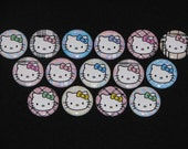 15 Plaid Kitty Flatback or Pinback buttons 1 inch