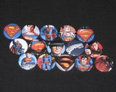 15 Hero Pinback or Flatback buttons 1 inch