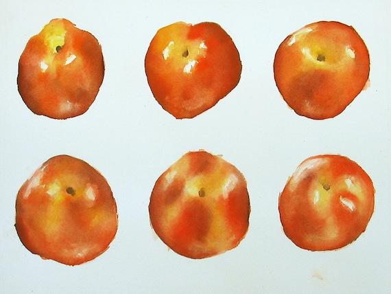 "Six Nectarines -Watercolor Still Life Illustration 12x16"" Original Artwork"