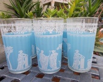 Vintage Light Blue Roman Glassware (Set of 7)