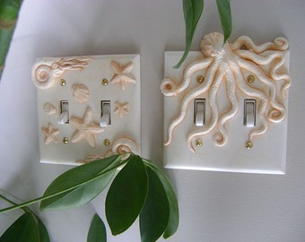 Octopus Double Light Switch Cover.  Wall Decor Decorative arts Animal Wall Art Sculpture Installation