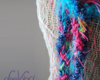 fashion accesories scarf women teal pink and blue scarflette deevinci READY TO SHIP