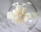 Cream Lace Flower Headband - Newborn Baby Prop