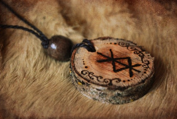 Birdrune Viking Wood Pendant