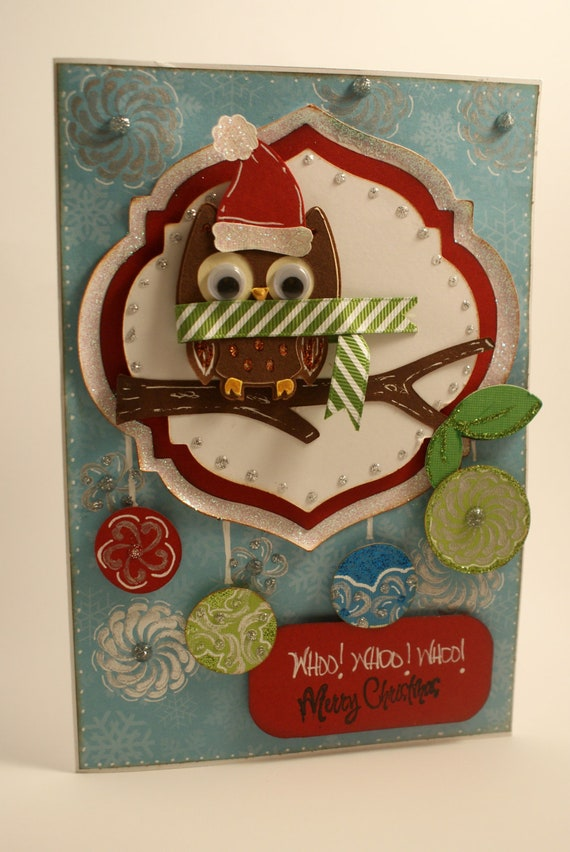 Merry Christmas Animated Card Animal Owl Merry Christmas