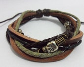 Leather Bracelet Combination of many elements of leather bracelets Fashion Cuff Bracelet For men's B-041