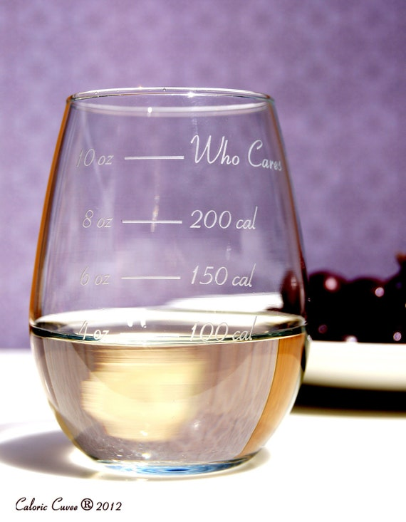 Stemless Caloric Cuvee: The Calorie Counting Wine Glass - Weight loss - Calorie Counting - Diet Wine Glass - Measurement Wine Glass
