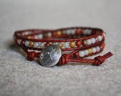 Red wrapbracelet with colonial Jasper and oxblood red leather.
