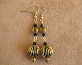 Antique gold  morish lamp style dangle earrings.  2 1/2 inches in length.