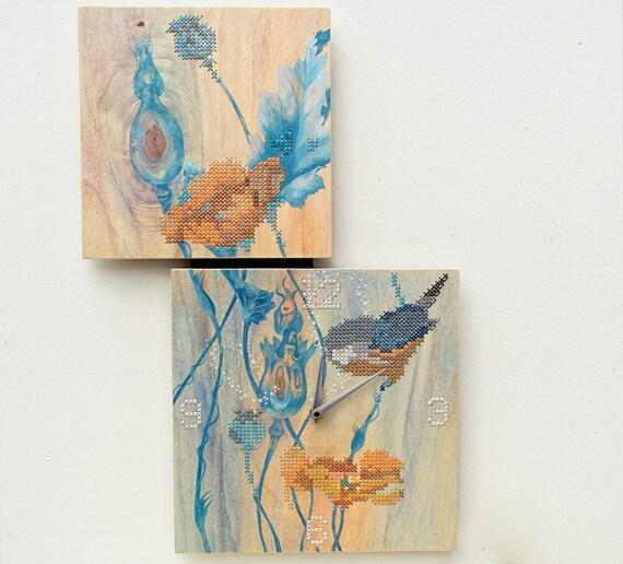 RESERVED FOR ELENA: Cross Stitch Wall Clock Painting Poppy Bird Wall Decor