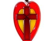 ORNAMENT - Heart & Cross- Acrylic - Red - Yellow- Brown - Home Decor